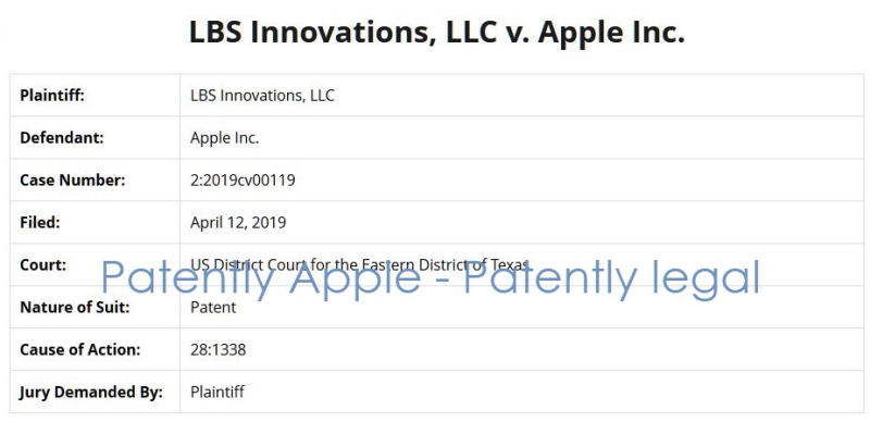 2 X LBS INNOVATIONS V APPLE PATENT INFRINGEMENT