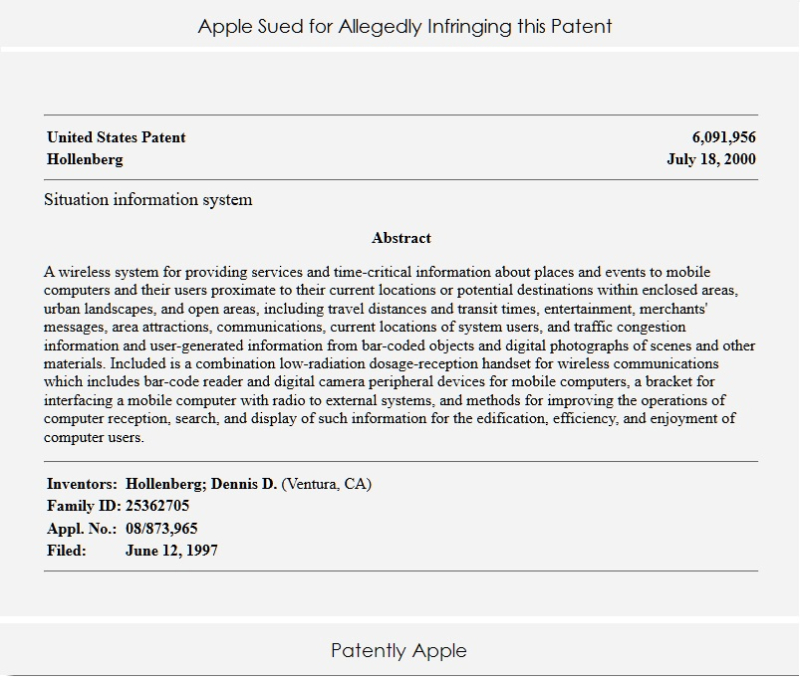 2 patent used to sue apple with